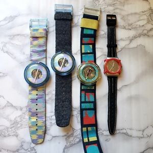 Lot of 4 early 1990s Swatch Watches